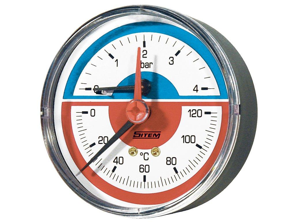 """Sitem termomanometr 1/2"""" 80 mm zadní 0 - 4 bar"""
