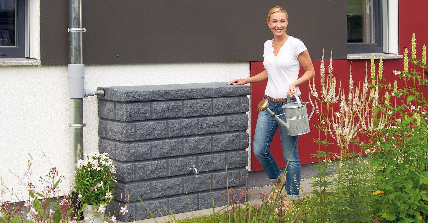 GRAF dešťová nádrž skála na zeď 400 l - šedá 326130