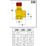 "CALEFFI pojistný ventil FF 5/4"" x 6/4"" 2,5 bar 53075425"